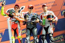 Podium: Sieger Jorge Lorenzo; 2. Valentino Rossi; 3. Alvaro Bautista