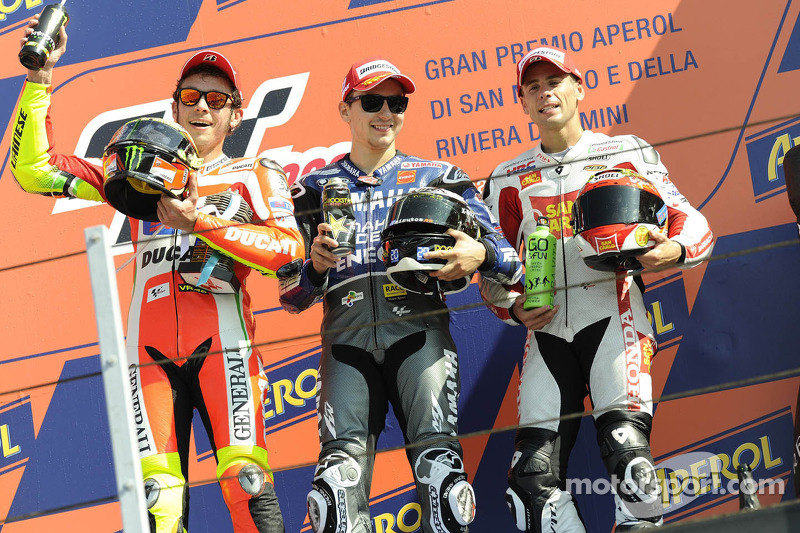 2012: 1. Jorge Lorenzo, 2. Valentino Rossi, 3. Alvaro Bautista