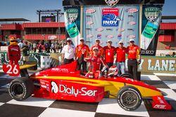 Victory lane: winnaar Carlos Munoz, Andretti Autosport