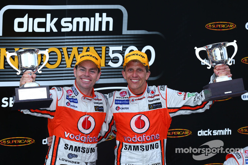Podium: race winners Craig Lowndes and Warren Luff