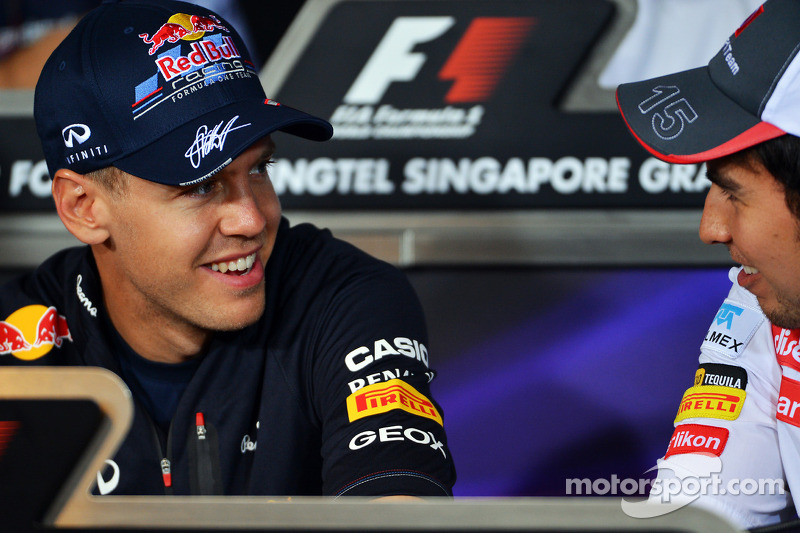 Sebastian Vettel, Red Bull Racing en Sergio Perez, Sauber in de FIA persconferentie