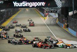 Paul di Resta, Sahara Force India, Fernando Alonso, Ferrari y Nico Rosberg, Mercedes AMG F1