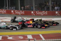 Romain Grosjean, Lotus F1 y Mark Webber, Red Bull Racing