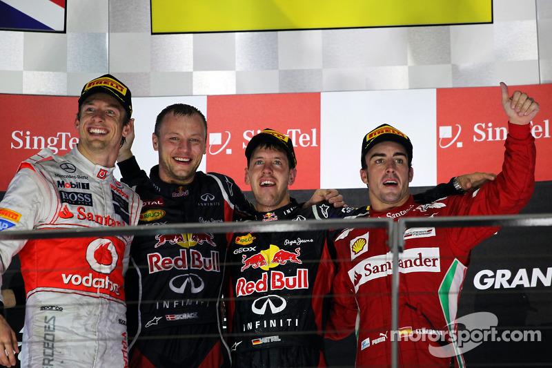 2012: 1. Sebastian Vettel, 2. Jenson Button, 3. Fernando Alonso