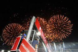 Fuegos artificiales al final de la carrera