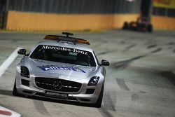 The Safety Car pulls into the pits