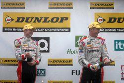 Honda Yuasa Racing Duo celebrate on podium