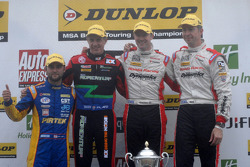 Round 24 Podium: 1st Gordon Shedden, 2nd Matt Neal, 3rd Jason Plato, Independent Winner Andrew Jordan