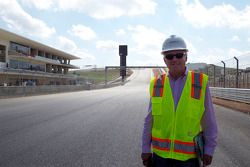 FIA race director Charlie Whiting visits the newly paved circuit