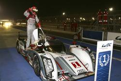 Race winner Benoit Tréluyer celebrates