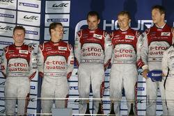 Overall podium: winners Marcel Fässler, Benoit Tréluyer, Andre Lotterer, second place Tom Kristensen