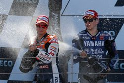 Podio: ganador de la carrera Dani Pedrosa, Repsol Honda Team, segundo lugar Jorge Lorenzo Yamaha Fac