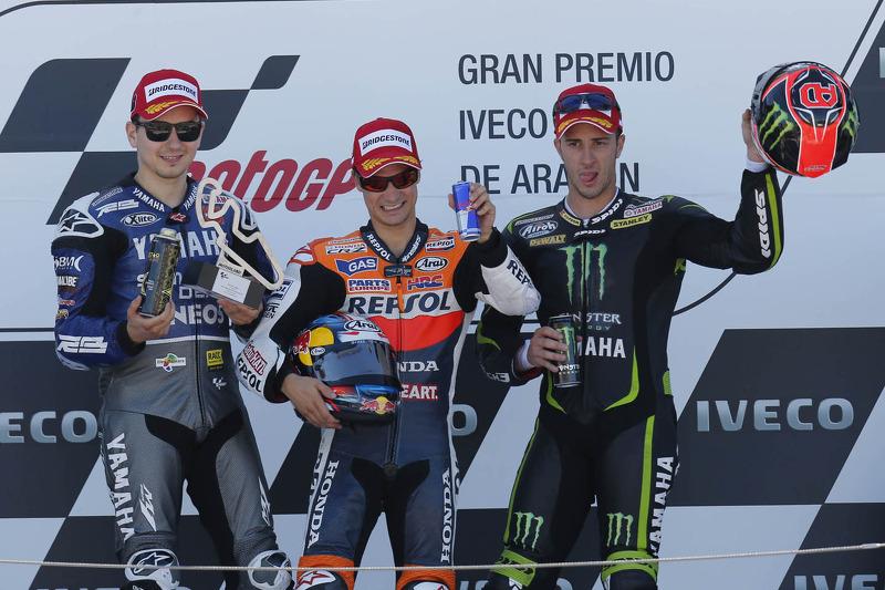 Podio: 1º Dani Pedrosa, 2º Jorge Lorenzo, 3º Andrea Dovizioso