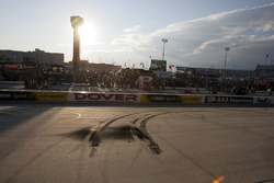 Race winner Brad Keselowski, Penske Racing Dodge's tire tracks after burnout