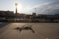 Race winner Brad Keselowski, Penske Racing Dodge's tire tracks after burnout