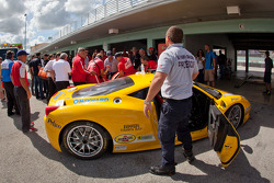 #23 Ferrari of Central Florida 458TP: Onofrio Triarsi out of his car