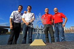 GT kampioenen Emil Assentato en Jeff Segal en DP kampioenen Scott Pruett en Memo Rojas