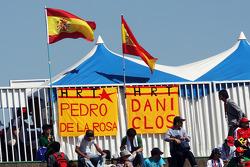 Banners for Pedro De La Rosa, HRT Formula 1 Team and Dani Clos, HRT Formula One Team Test Driver