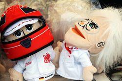 Michael Schumacher, Mercedes AMG F1 ve Bernie Ecclestone, CEO Formula 1 Group, hand puppets, sale