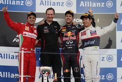 Podium: race winner Sebastian Vettel, Red Bull Racing, second place Felipe Massa, Ferrari, third pla