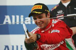 Second placed Felipe Massa, Ferrari suffers from premature champagne elation on the podium