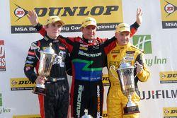 Round 25 podium 1ste Jason Plato, 2de Dave Newsham, 3de Aron Smith