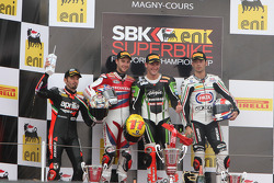 Podium: race winner Tom Sykes, second place Jonathan Rea, third place Sylvain Guintoli with 2012 cha
