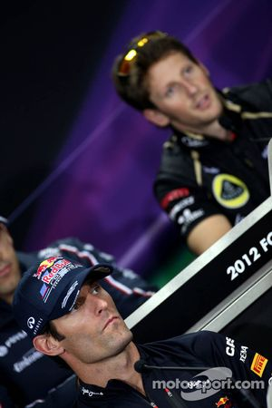 Mark Webber, Red Bull Racing and Romain Grosjean, Lotus F1 Team
