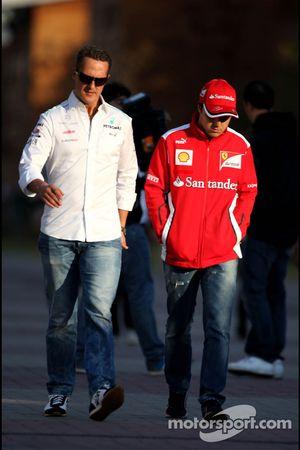 Michael Schumacher, Mercedes GP et Felipe Massa, Scuderia Ferrari