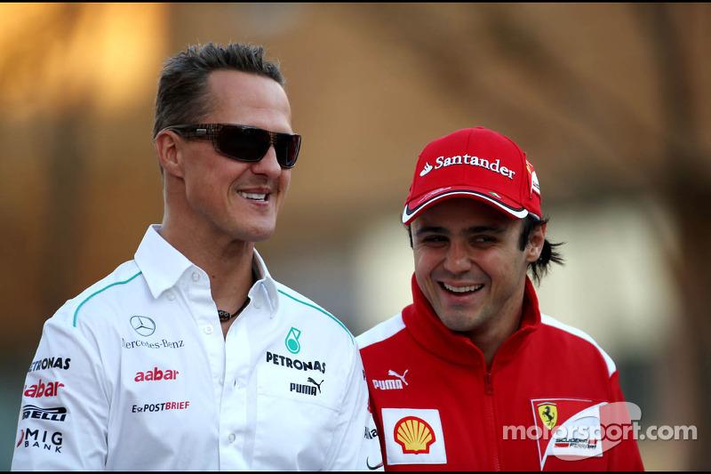 Michael Schumacher, Mercedes GP,Felipe Massa, Scuderia Ferrari