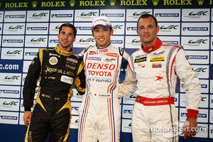 Overall pole winner Kazuki Nakajima, quickest privateer Neel Jani, LMP2 pole winner Stéphane Sarrazin