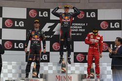 1st place Sebastian Vettel, Red Bull Racing 2nd place Mark Webber, Red Bull Racing and 3rd place Fer
