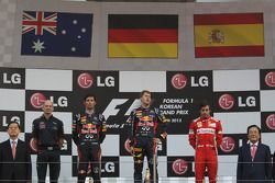 1st place Sebastian Vettel, Red Bull Racing 2nd place Mark Webber, Red Bull Racing and 3rd place Fernando Alonso, Scuderia Ferrari