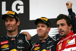 Mark Webber, Red Bull Racing, Sebastian Vettel, Red Bull Racing y Fernando Alonso, Scuderia Ferrari