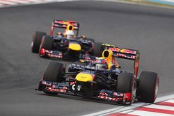 Mark Webber, Red Bull Racing leads team mate Sebastian Vettel, Red Bull Racing