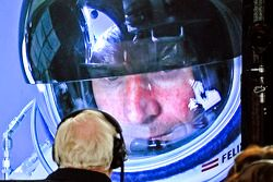 Felix Baumgartner prepares to jump from over 128,000 feet in altitude