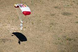 Felix Baumgartner lands after breaking the speed of sound