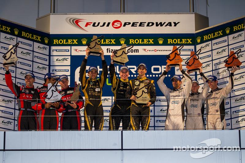 LMP1 Podium: First place Nicolas Prost, Neel Jani; Second place David Brabham, Karun Chandhok, Peter
