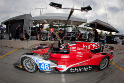 Pit stop practice for #46 Thiriet by TDS Racing Oreca Nissan: Mathias Beche, Pierre Thiriet, Christo
