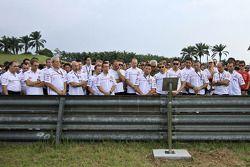 Tribute to Marco Simoncelli lead by Fausto Gresini of San Carlo Honda Gresini