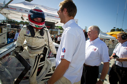 GTC pole winner Leh Keen celebrates with teammate Cooper MacNeil