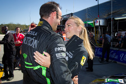 GT pole winner Guy Cosmo celebrates with his wife