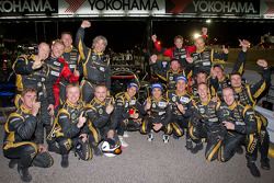 P1 and overall winners Neel Jani, Andrea Belicchi and Nicolas Prost celebrate with Rebellion Racing team members