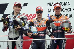 Podium: race winner Dani Pedrosa, Repsol Honda Team, second place Jorge Lorenzo, Yamaha Factory Raci