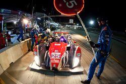 Pit stop for #25 Dempsey Racing Oreca FLM09: Henri Richard, Duncan Ende, Ryan Lewis