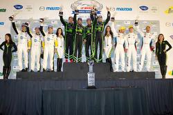 GT podium: class winners Scott Sharp, Johannes van Overbeek, Toni Vilander, second place Jan Magnussen, Antonio Garcia, Jordan Taylor, third place Bill Auberlen, Jorg Muller, Jonathan Summerton