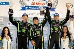 GT podium: class winners Scott Sharp, Johannes van Overbeek, Toni Vilander