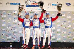 ELMS GT-AM podium: class winners Anthony Pons, Raymond Narac, Nicolas Armindo