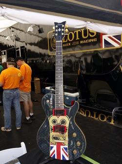 A guitar in the Alex Job Lotus team area