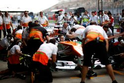 Sahara Force India F1 VJM05 is used to practice pit stops by mechanics